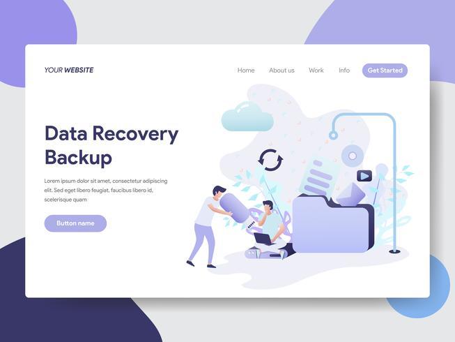 Modèle de page d'atterrissage de Data Recovery Backup Illustration Concept. Concept de design plat moderne de conception de page Web pour site Web et site Web mobile. Illustration vectorielle vecteur