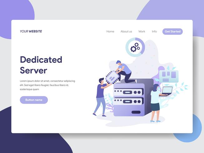 Landing page template of Dedicated Server Illustration Concept. Modern flat design concept of web page design for website and mobile website.Vector illustration vector