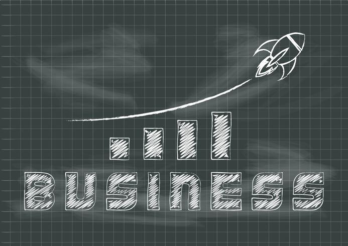 Croissance des entreprises tableau noir avec graphique et illustration vectorielle montante de fusée