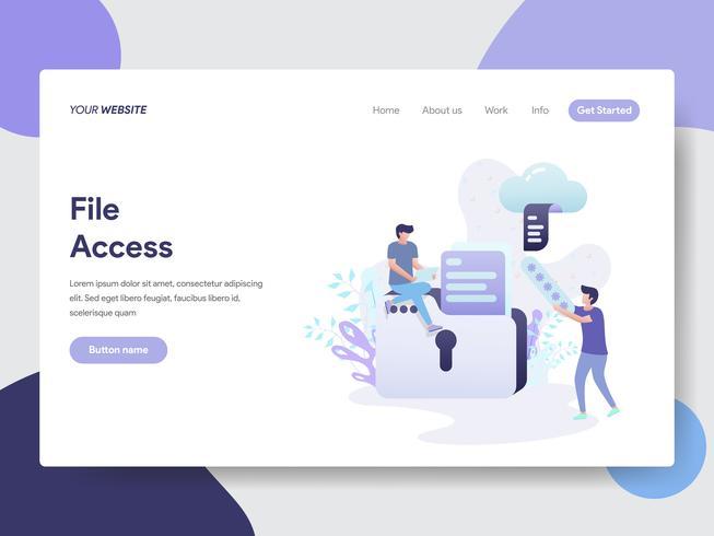 Målsida mall för File Access Illustration Concept. Modernt plattdesignkoncept av webbdesign för webbplats och mobilwebbplats. Vektorns illustration vektor