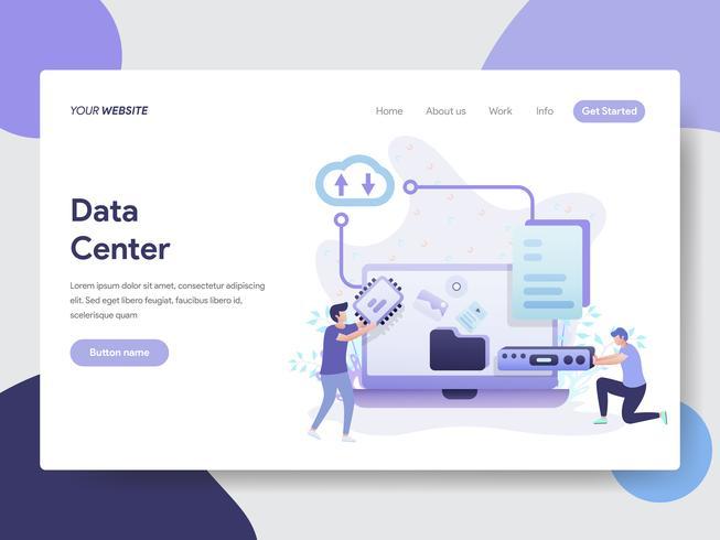 Modello della pagina di atterraggio del concetto dell'illustrazione del centro dati. Concetto di design piatto moderno di progettazione di pagine Web per sito Web e sito Web mobile. Illustrazione di vettore