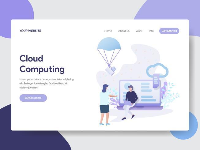 Plantilla de la página de destino del concepto de ilustración de Cloud Computing. Concepto de diseño plano moderno de diseño de página web para sitio web y sitio web móvil. Ilustración de vector
