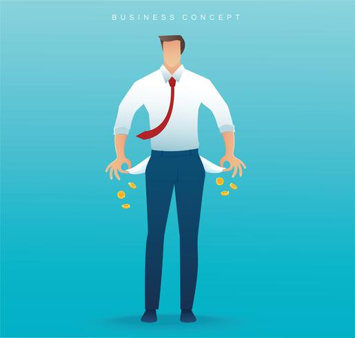 poor man showing his empty pockets on blue background vector illustration