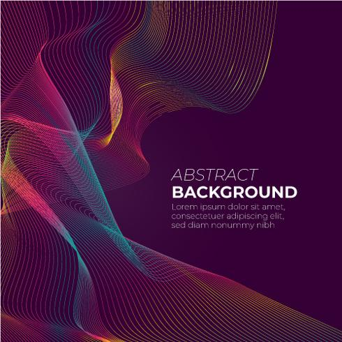 Abstract gradient mesh wave on dark purple background with space for text vector illustration