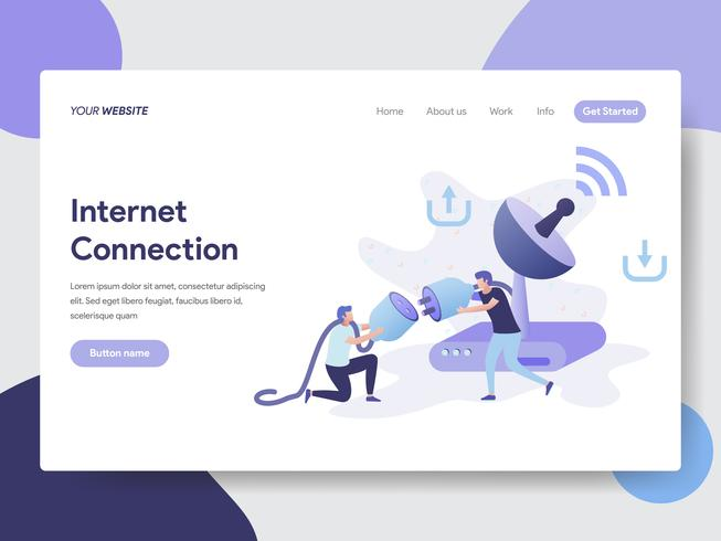 Landing page template of Internet Connection Illustration Concept. Modern flat design concept of web page design for website and mobile website.Vector illustration
