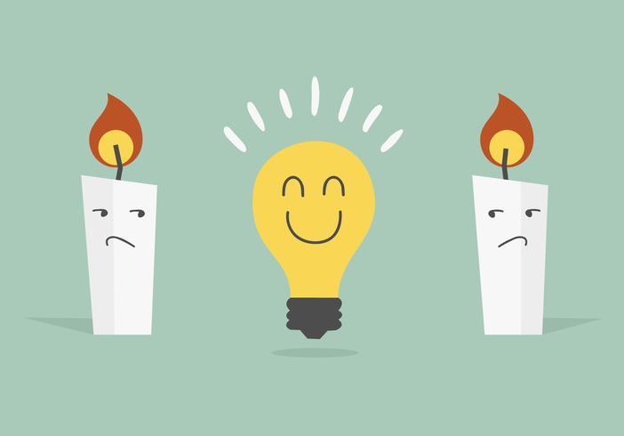 Ampoule et bougie. Concept d'idée.