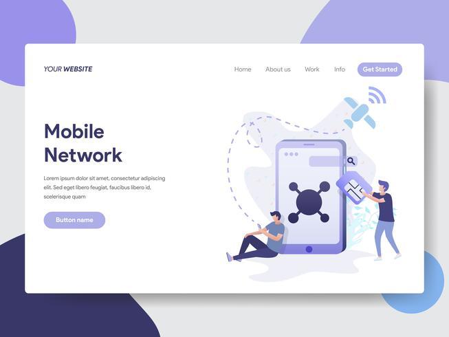 Modello di pagina di destinazione del concetto di illustrazione di rete mobile. Concetto di design piatto moderno di progettazione di pagine Web per sito Web e sito Web mobile. Illustrazione di vettore