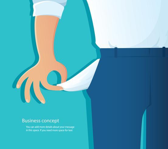 stackars man visar sina tomma fickor på blå bakgrund vektor illustration EPS10
