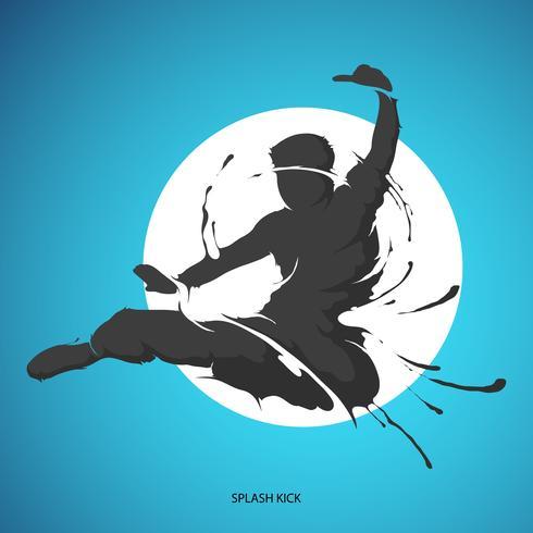 kick silhouette splash martial arts
