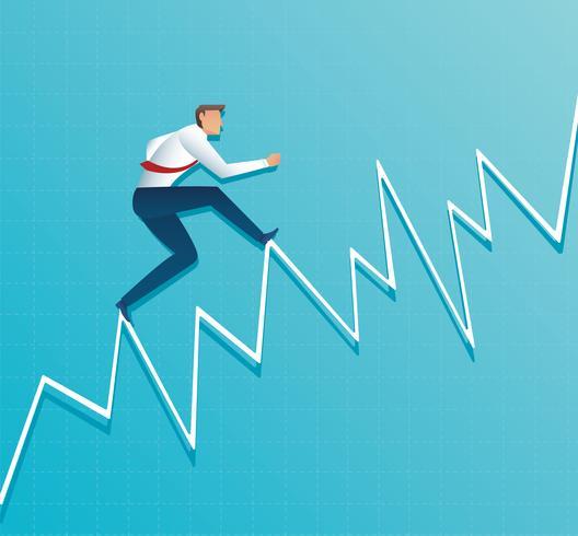 Geschäftsmann läuft auf Diagramm, der Mitarbeiter läuft bis zur Spitze des Pfeils, Erfolg, Leistung, Motivation Business Symbol Vektor-Illustration