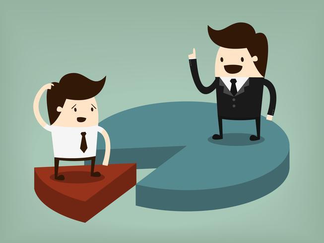 Quota di mercato. Illustrazione di concetto del fumetto di affari. Concetto di idea.