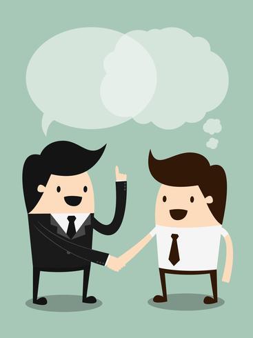 Scambiarsi una stretta di mano. Illustrazione di concetto del fumetto di affari. Concetto di idea.