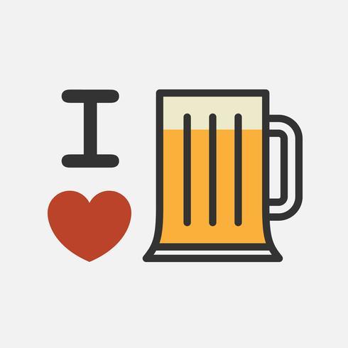 Love beer. Cute cartoon  illustration. vector