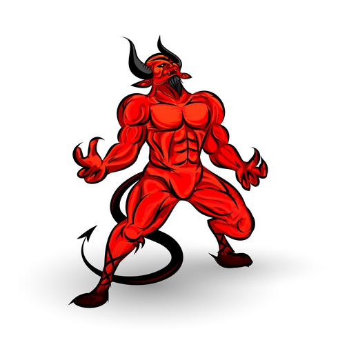 personaje del diablo rojo vector