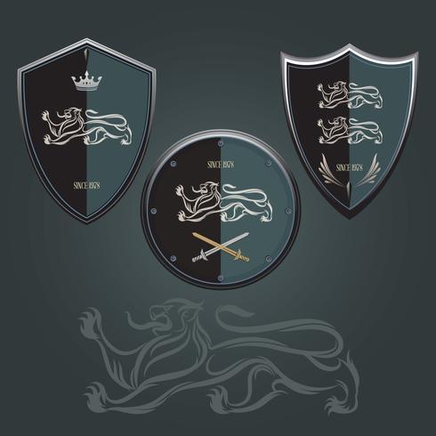logo del escudo de leon vector