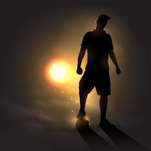 soccer player at sunset vector