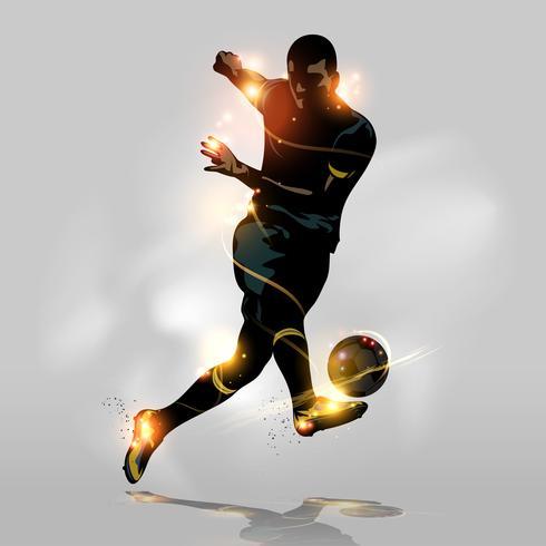Abstraktes schnelles Schießen des Fußballs
