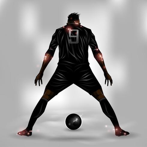 Futbolista listo para disparar