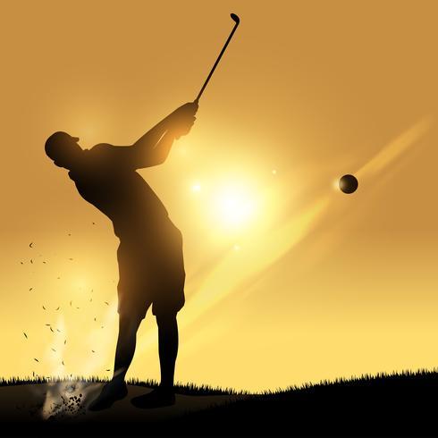 Coucher de soleil swing golfeur vecteur