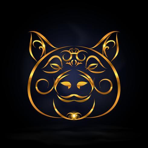 símbolo de cerdo de oro