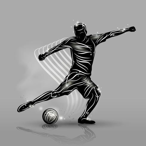 Fußballspieler schwarzen Stil vektor