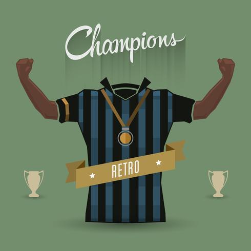 campeones de fútbol retro signo vector
