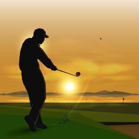 silhouetten golfspeler schommel
