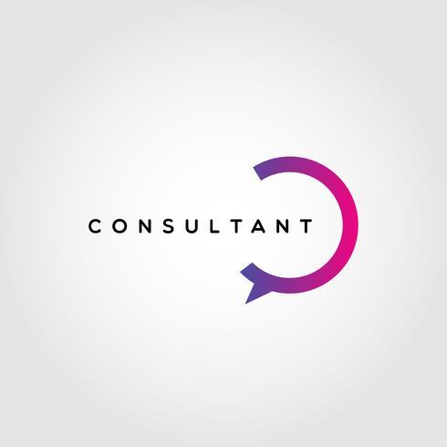 Modelo de Design de logotipo colorido consultor