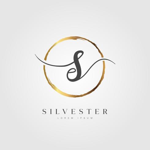 Oro elegante letra inicial tipo S
