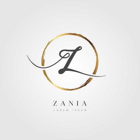 Letra inicial elegante tipo Z de ouro