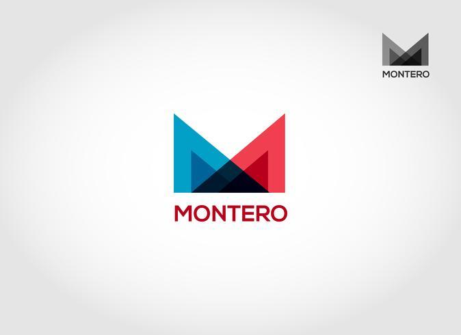 Plantilla de diseño de logotipo de superposición M vector