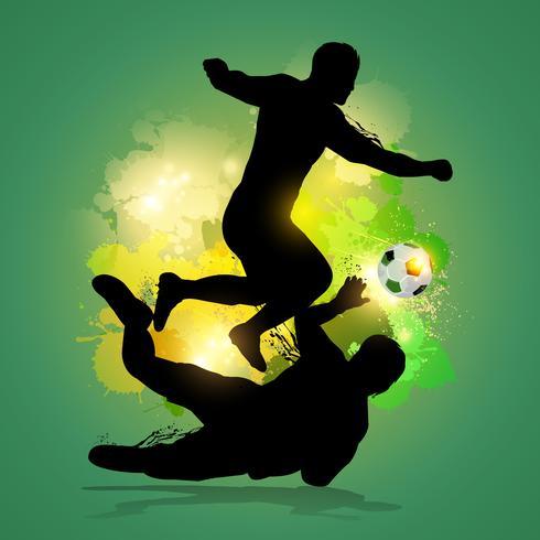 Fußballspieler dribbelt durch Torwart vektor