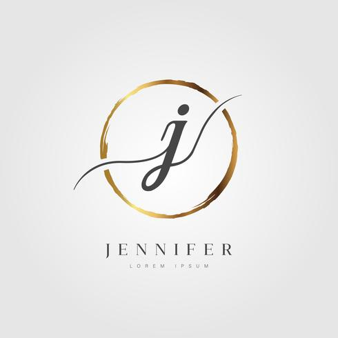 Guld Elegant Initial Letter Type J