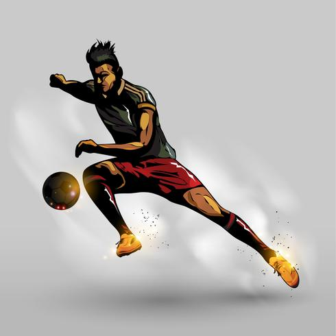 Abstrakter Fußball, der Ball führt