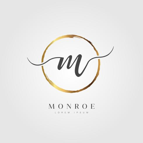 Letra inicial elegante ouro tipo M