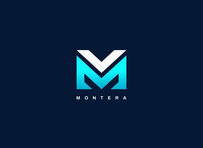 Lettre moderne type MV Logo bleu forme