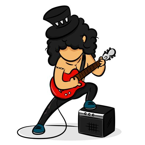 Cartoon Guitarist Rocker vector