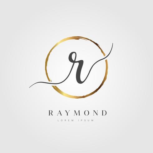 Oro elegante lettera iniziale tipo R