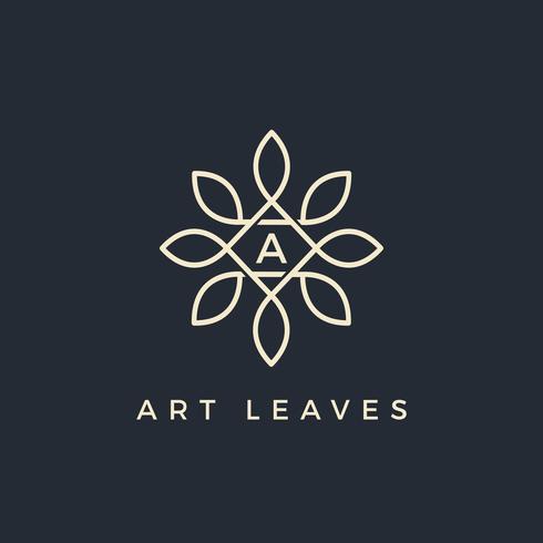 Flacher Blumenvektor verlässt Anfangsbuchstaben Typ A Logo Design Template
