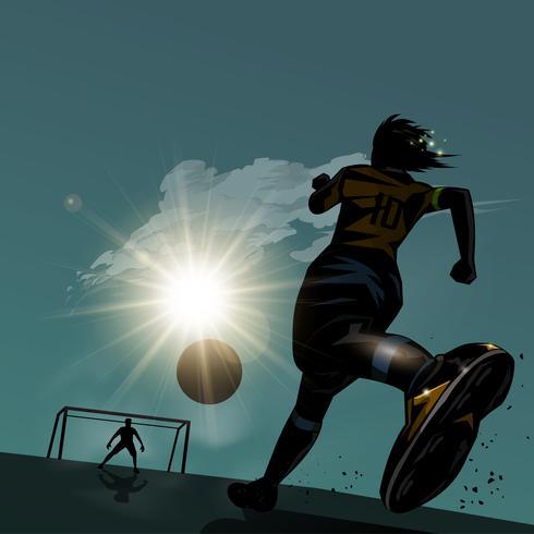 Futebol, executando, com, bola