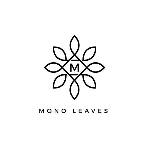 Monogram Floral Vector Leaves Lettera iniziale tipo M Logo Design Template Print