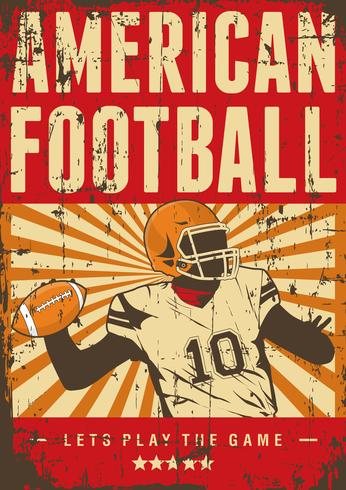 American Football Rugby Sport Retro Pop Art Poster Signage vector