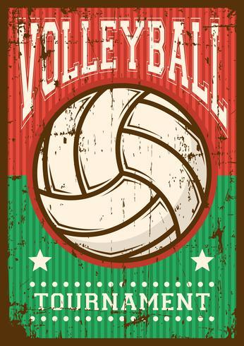 Balón de voleibol Deporte de voleibol Cartel retro del arte pop Señalización