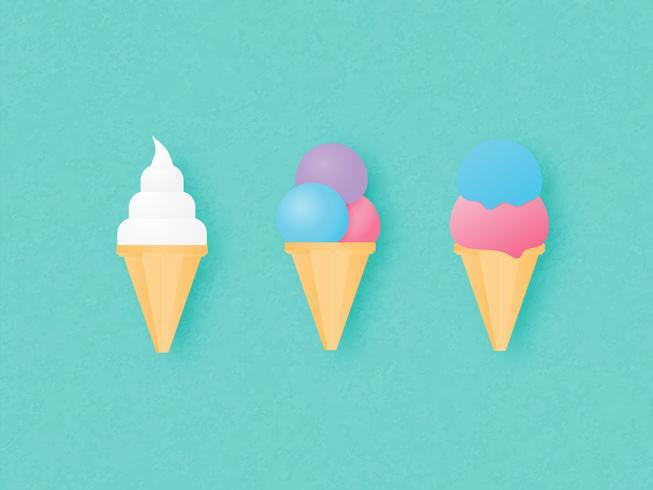 Jogo do cone de gelado três no fundo verde. Ilustração vetorial