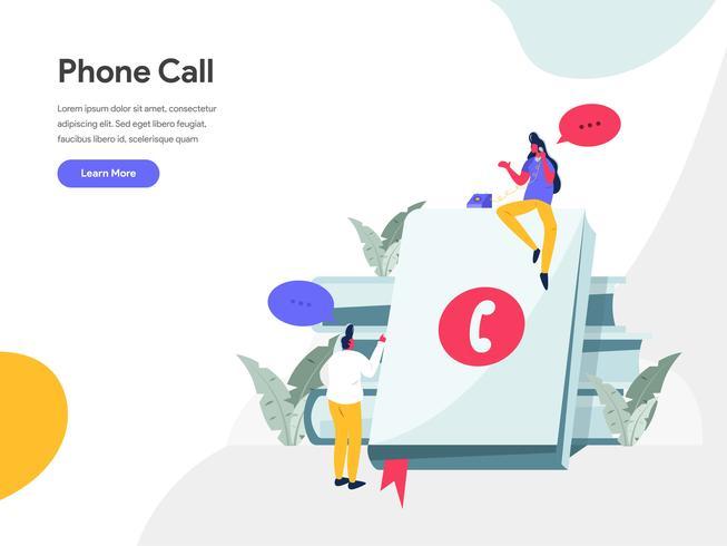 Phone Call Illustration Concept. Modern flat design concept of web page design for website and mobile website.Vector illustration EPS 10