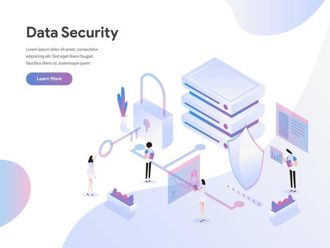 Molde da página da aterrissagem do conceito isométrico da ilustração da segurança de dados. Conceito de design plano de design de página da web para o site e site móvel.