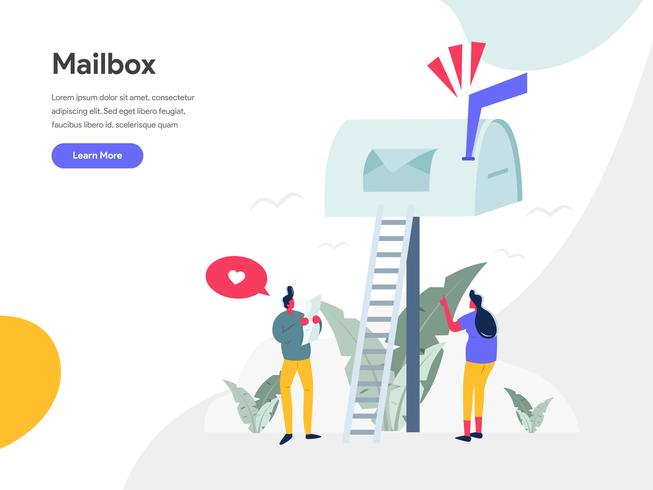 Mailbox Illustration Concept. Modern flat design concept of web page design for website and mobile website.Vector illustration EPS 10 vector