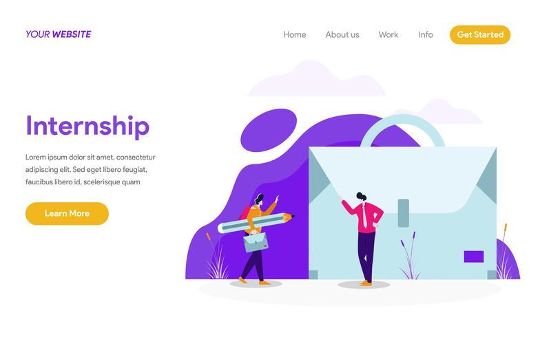 Molde da página da aterrissagem do estágio Job Illustration Concept. Conceito moderno design plano de design de página da web para o site e site móvel.