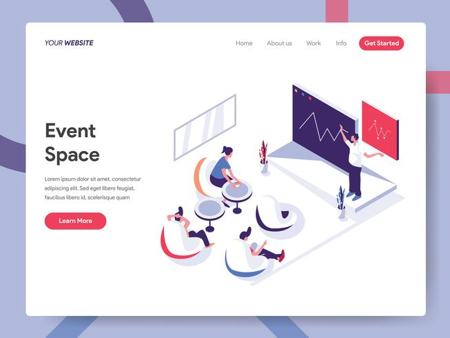 Plantilla de página de destino del concepto de ilustración de espacio de evento. Concepto de diseño plano isométrico de diseño de página web para sitio web y sitio web móvil. Ilustración de vector EPS 10