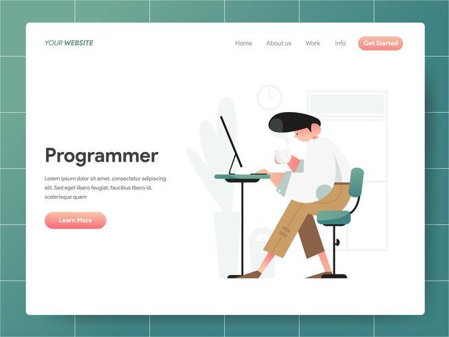 Concetto dell'illustrazione del programmatore. Concetto di design moderno di progettazione di pagine Web per sito Web e sito Web mobile. Illustrazione di vettore 10 EPS